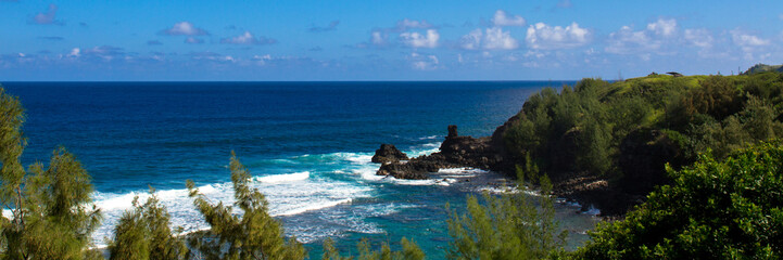 Panorama of the Maui coast, with volcanic rock, white surf, blue sky and Pacific Ocean, and green plants on the shore