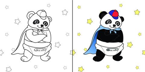 Super hero baby Panda with star background