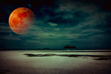 Wall Mural - Landscape of sky with bloodmoon on seascape to night. Serenity nature background.