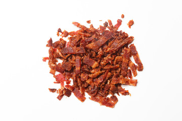 Overhead View of Bacon Bits on White Background