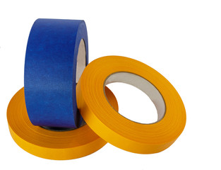 Blue and yellow painters tape rolls