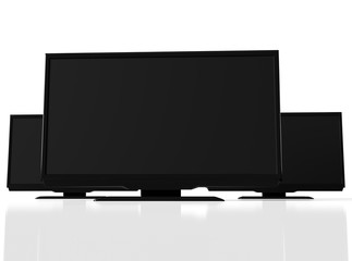 Closeup view of abstract black led tvs on white background, 3D rendering