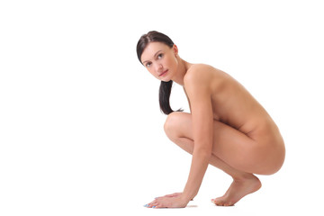 naked young girl on a white background