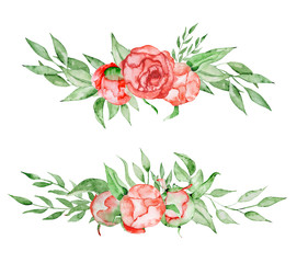 Peonies bouquets set Hand painted watercolor combination of Flowers and Leaves