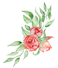Peonies bouquet Hand painted watercolor combination of Flowers and Leaves