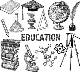 Set with education objects. Science set. Sketch vector illustration.