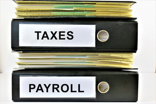 An concept Image of a binder with copy space - taxes, payroll