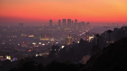 Klistermärke - Los Angeles cityscape. View from Hollywood Beverly Hills Century City Sunset 4K