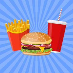 Hamburger with cheese, tomato and salad.