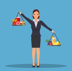 Business woman balancing