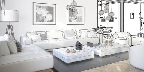Raumgestaltung: Sitzgarnitur (Planung panotamisch)