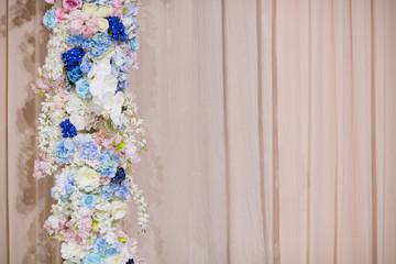 flower background. backdrop wedding decoration. Rose pattern. Wall flower