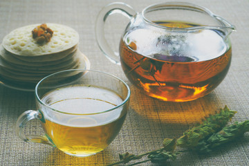 Arab pancakes with herbal tea sage. Sweet food in Ramadan.