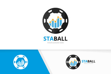 Vector graph and soccer logo combination. Diagram and ball symbol or icon. Unique chart and football logotype design template.