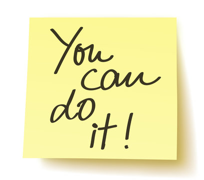 """Yellow Postit """"You can do it!"""" / handwritten, vector, isolated"""