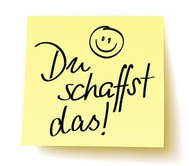 """Quadratisches gelbes Postit mit der Handschrift: """"Du schaffst das!"""" und handgezeichnetem Smiley  –Vektor, freigestellt"""