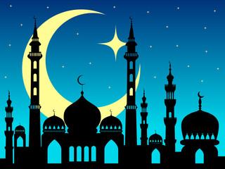 arabic mosque silhouette magic night background