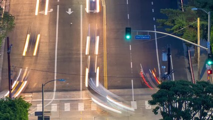 Fotobehang - Zoom in on Hollywood Boulevard street sign with motion blurred car traffic