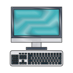 computer monitor and keyboard icon image vector illustration design