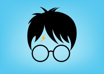 icon of a wizard boy with glasses, vector isolated or Blue background