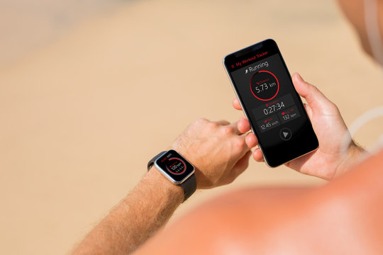 Man using wearable tech during fitness workout