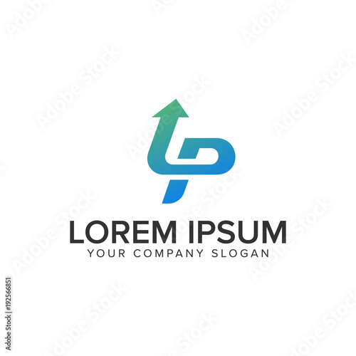 letter p arrow logo design concept template stock image and