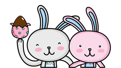 happy rabbit couple together with egg easter