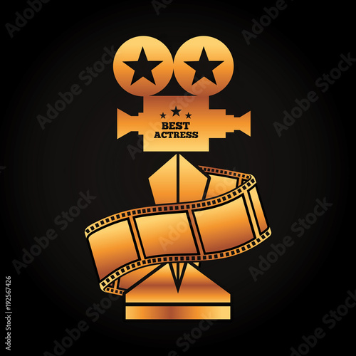 Gold Award Projector Trophy Best Actress Strip Film Movie Vector Illustration Black Background