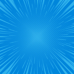Comic book style background, halftone dots texture. Flash explosion radial lines. Pop art vector illustration
