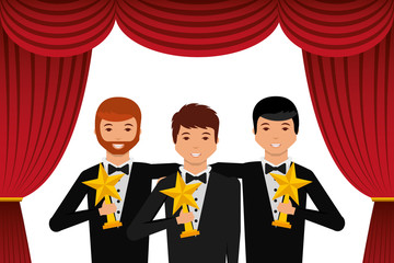group elegant actors holding gold trophies star in the theater vector illustration