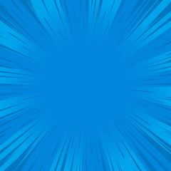 Blue rays comic pop art retro background.