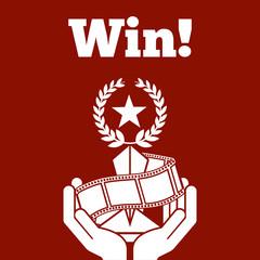 hands holding trophy award star win strip film red background vector illustration