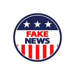 Icono plano FAKE NEWS en circulo bandera americana