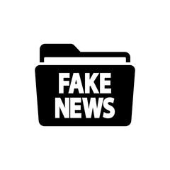Icono plano carpeta con FAKE NEWS en color negro