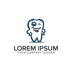 smile dental cartoon logo design concept template.