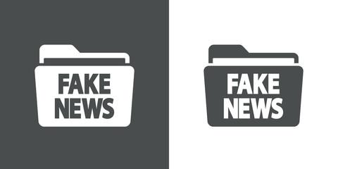 Icono plano carpeta con FAKE NEWS en gris y blanco