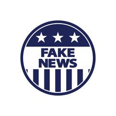 Icono plano FAKE NEWS en circulo bandera USA  en color azul