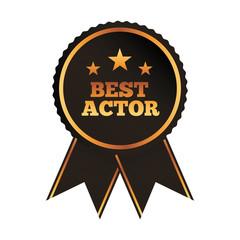 best actor award rosette ribbon image vector illustration