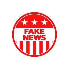 Icono plano FAKE NEWS en circulo bandera USA  en color rojo