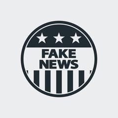 Icono plano FAKE NEWS en circulo bandera USA  en fondo gris