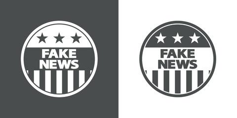 Icono plano FAKE NEWS en circulo bandera USA en gris y blanco