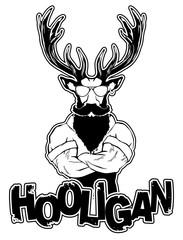 "print on a T-shirt ""hooligan"" depicting a deer"
