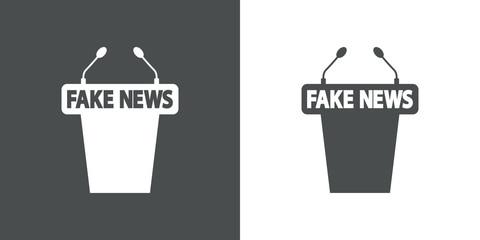 Icono plano atril con FAKE NEWS en gris y blanco