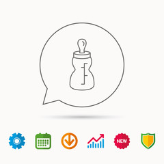 Feeding bottle icon. Drink glass with pacifier.
