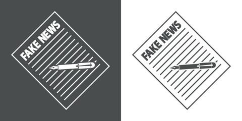 Icono plano escribir FAKE NEWS en gris y blanco