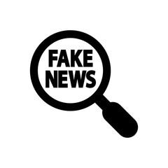 Icono plano lupa con FAKE NEWS en color negro
