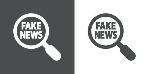 Icono plano lupa con FAKE NEWS en gris y blanco