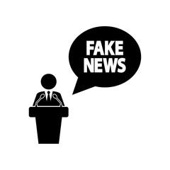 Icono plano mensaje FAKE NEWS con orador en color negro