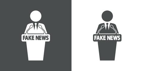Icono plano orador con FAKE NEWS en gris y blanco