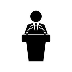 Icono plano orador con microfonos en color negro